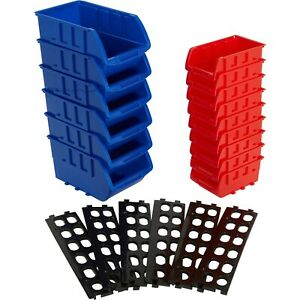 Stackable Storage Bins Red Blue 15 Pcs