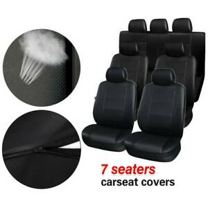 3 Row Black Pu Leather Universal Car Seat Covers For Auto Suv Van 7 Seaters Set