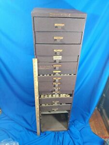 Antique vtg Large 8 Drawer File Cabinet Machinist Library Watchmaker Watch