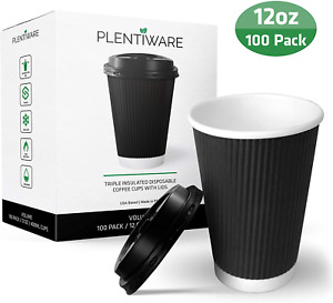 Coffee Cups With Lids Disposable Insulated To Go Paper Coffee Cups For Hot Bev