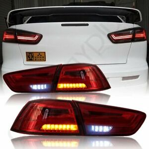 For Mitsubishi Lancer 2008 2016 Evo Rear Brake Lamp Red Smoke Led Tail Lights