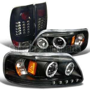 For 1997 2003 Ford F150 Black Halo Projector Headlights glossy Black Tail Lamps