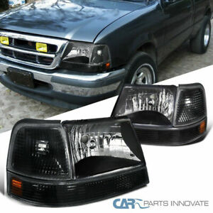 Fit Ford 98 00 Ranger Black Headlights Headlamps corner Turn Signal Bumper Lamps