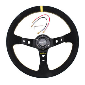 14inch 350mm Deep Dish Drifting Racing Suede Leather Grip Steering Wheel Usa
