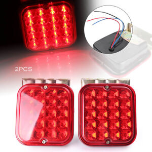 2x Trailer Brake Turn Signal Stop Tail Light For Campers Rv Boats Red Led Light
