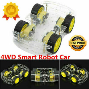 Diy Smart 4wd Robot 2pcs Car Chassis Kit speed Encoder For Arduino 4 Tires New