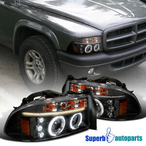 For 1997 2004 Dodge Dakota 1998 2003 Durango Led Halo Black Projector Headlights