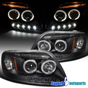 For 1997 2003 Ford F150 Expedition Led Halo Projector Headlights Black