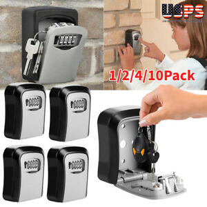 4 digit Combination Key Lock Box Wall Mount Safe Security Storage Case 10pack