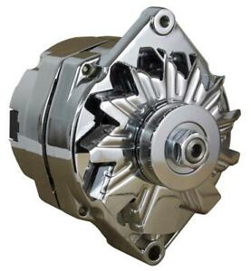 New Chrome Street Rod Gm High Output Alternator Fits 1 One Wire Self Energizing