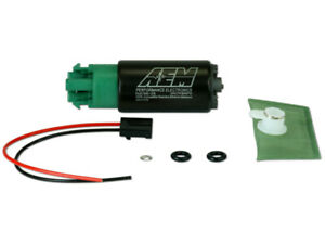 Aem 320lph E85 compatible High Flow In tank Fuel Pump 65mm W Hooks Offset Inlet