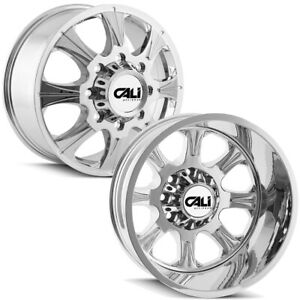Set Of 6 Cali Offroad Brutal Dually 22 Inch 8x6 5 Chrome Wheels Rims Lugs Incl