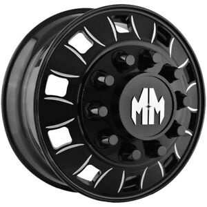 Mayhem 8180 Big Rig Front 22 5x8 25 10x285 75 Black milled Wheel Rim 22 5 Inch