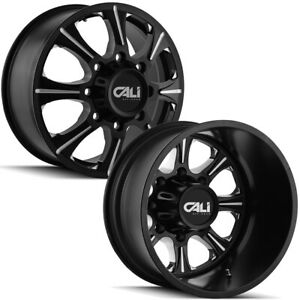 Set Of 6 Cali Offroad Brutal Dually 22 Inch 8x6 5 Black Wheels Rims Lugs Incl