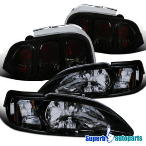 For 1994 1998 Ford Mustang Glossy Black Headlights Euro Tail Lights