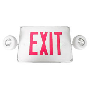 1 Pc Red Led Exit Sign Emergency Light Panel Double Head Light Dual Led Lamp