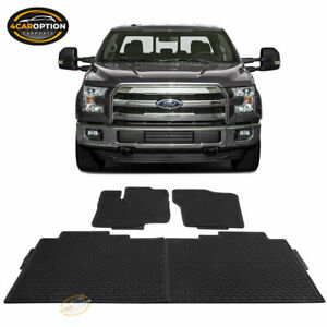 Fits 15 19 Ford F 150 F150 Heavy Duty Latex Floor Mats Front Rear Full Set