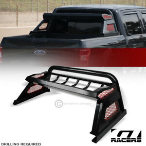 For 2015 2019 Ford F150 Matte Black Chase Rack Truck Bed Roll Bar W Cargo Basket