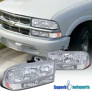 For 1998 2004 Chevy S10 Blazer Crystal Clear Headlights signal Bumper Lights