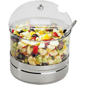 Aps Cold Bowl With Stainless Steel Base Hinged Lid And Ice Pack Clear 41448 40