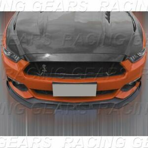 Fit 2015 2017 Ford Mustang Unpainted Black Front Body Kit Bumper Spoiler Lip 3pc