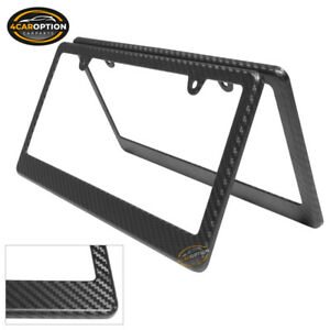 Carbon Fiber Texture License Plate Frame Cover Tag Holder Front Rear 2pc Set