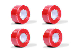 4pcs Red Rubber Silicone Repair Waterproof Bonding Tape Rescue Self Fusing Wire