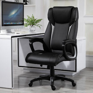 Vinsetto Ergonomic Office Chair Pu Leather Rocker Swivel Home Desk Chair Black