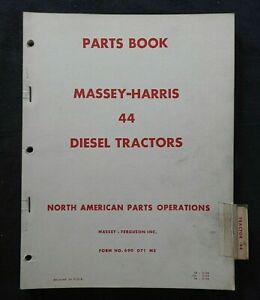 1952 66 Massey Harris M h 44 Special Diesel Tractor Parts Manual Very Good Shape
