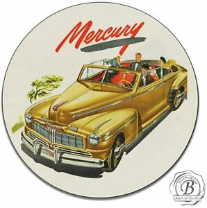 Mercury Car Company Authorized Service Vintage Round Metal Tin Sign 11 75 Inch
