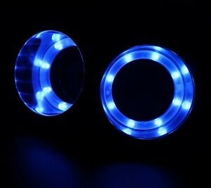 2x S S 8 Led Blue Light Cup Drink Holder For Boat Yacht Car Apartment Truck Rv