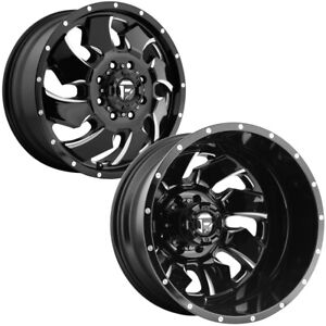 Set Of 6 fuel D574 Cleaver Dually 20 Inch 8x170 3 5 Gap Wheels Rims with Lugs