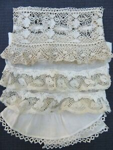 Lot 4 Antique Vtg French Ruffled Cuffs Valenciennes Lace Small Scale Doll Dress