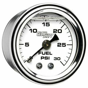 Glowshift Liquid Filled 30 Psi Mechanical Fuel Pressure Gauge White Dial 1 1 2