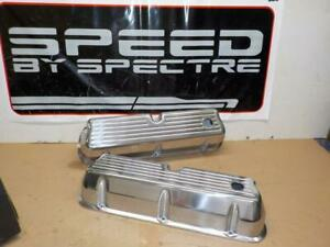 Spectre 5019 Ball Milled Polished Aluminum Tall Small Block Ford Valve Covers