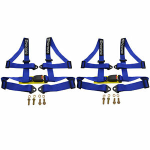 Spocoro Nylon 2 4 Point Buckle Racing Safety Harness Seat Belts Blue pair