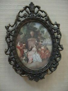 Vintage Antique Metal Picture Frame With Victorian Photo Holds 2 5 X 3 4 Photo