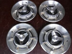 1966 67 Dodge Charger 14 Inch Spinner Hubcaps Set Of 4 Oem Rare Good Condition