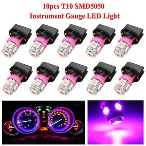 10x Purple T10 194 Led Bulbs For Instrument Gauge Cluster Dash Light Sockets