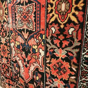 Vintage Hand Knotted Rug 62 X 39 3 X 5ft Carpet Bright Antique Pink Blue Wool