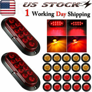2x Marker Led Truck Trailer Light Kit Stop Turn Tail Utility Boat Waterproof