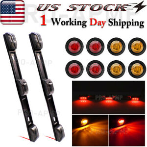 8x Red Amber 3 4 Bullet Truck Trailer Led Clearance Marker Lights Tail Lights
