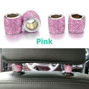 1 Pc Pink Crystal Car Seat Headrest Decoration Charms For Women Car Accessories