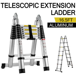 16 5ft Aluminum Telescopic Extension Ladder Folding Step Multi use Non slip 5m