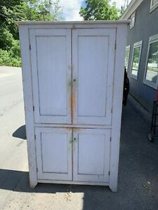 Fantastic Country Cupboard 4 Door Blue Paint Antique Pa