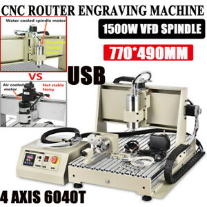 4 Axis Cnc 6040 Router Engraver Machine 1500w Vfd Engraving Drilling Pcb Diy Kit