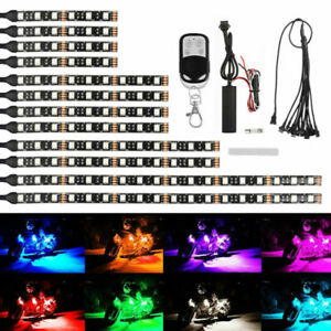 12pc Motorcycle Led Light Wireless Remote 16 Color Neon Glow Light Strips Kit Us