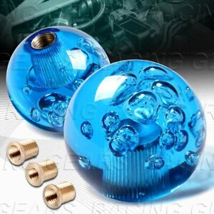 Vip Ball 60mm W power Transparent Manual Mt Blue Crystal Bubble Shift Knob