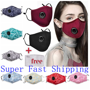 100 Cotton Cloth Face Mask Air Valve Reusable Breathable Covering With 1 Filter