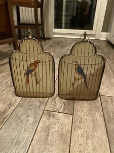Pair Of Hainpainted Parrots In Gilded Frame Cage Vintage And Rare 65 00 8x10 Ea